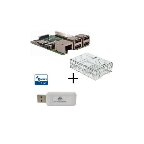 Raspberry PI 3 Modelo B - Con el caso y el controlador Z-wave Plus Everspring SA413